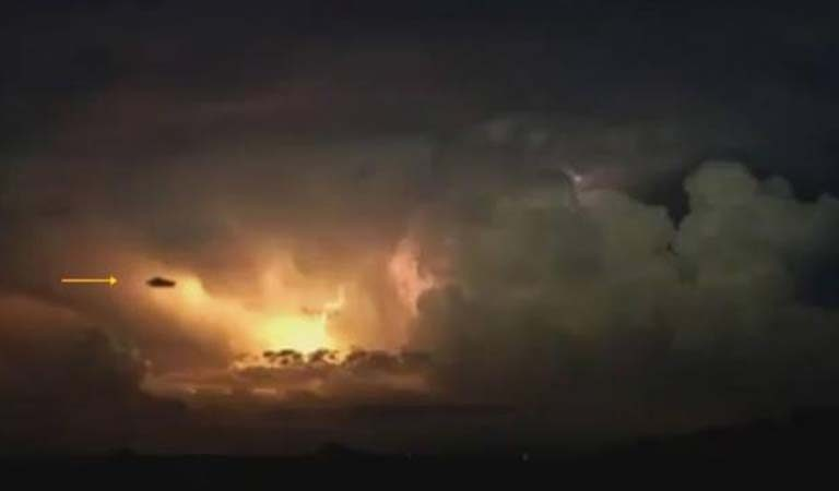 Watch: Big UFO Coming Out of Terrifying Lightning Storm
